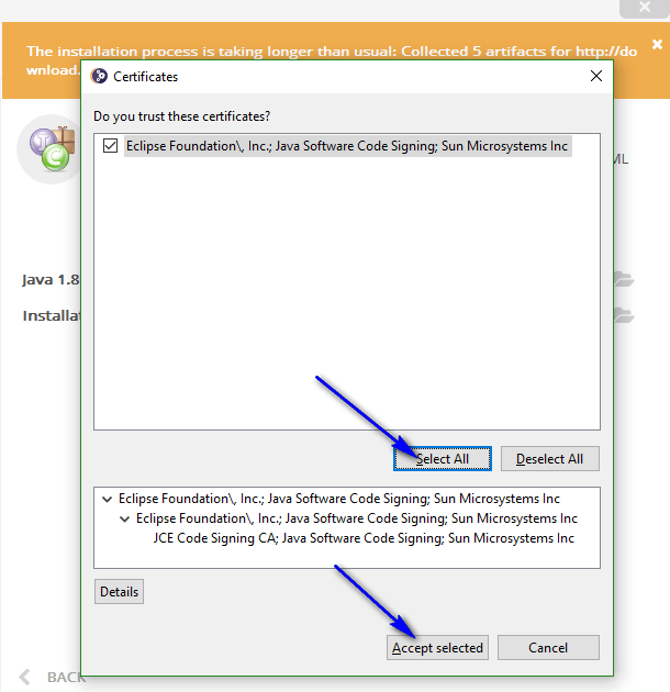 Installing and Launching Eclipse IDE - Certificates