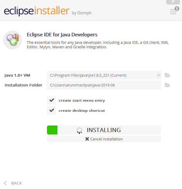 Installing and Launching Eclipse IDE - Installation will begin
