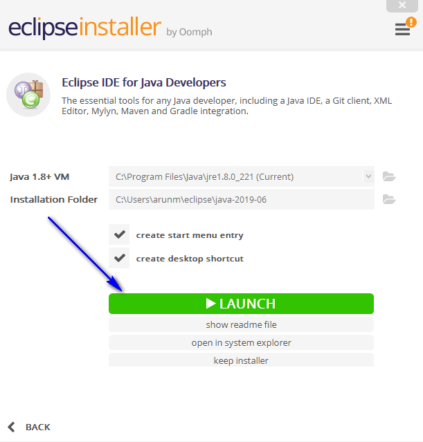 Installing and Launching Eclipse IDE - Launch