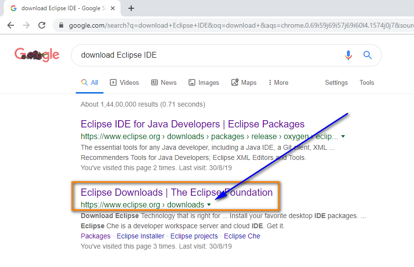 Installing and Launching Eclipse IDE - search