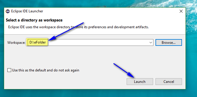 Installing and Launching Eclipse IDE - workspace