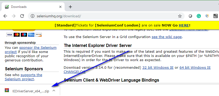 Internet Explorer Browser Selenium IDE - downloaded