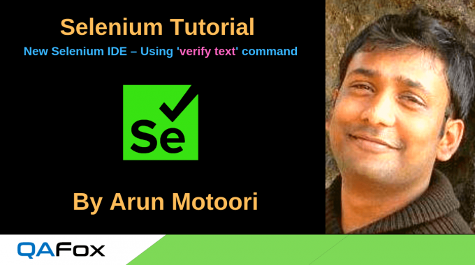 New Selenium IDE – Using 'verify text' command to check the text on the UI element