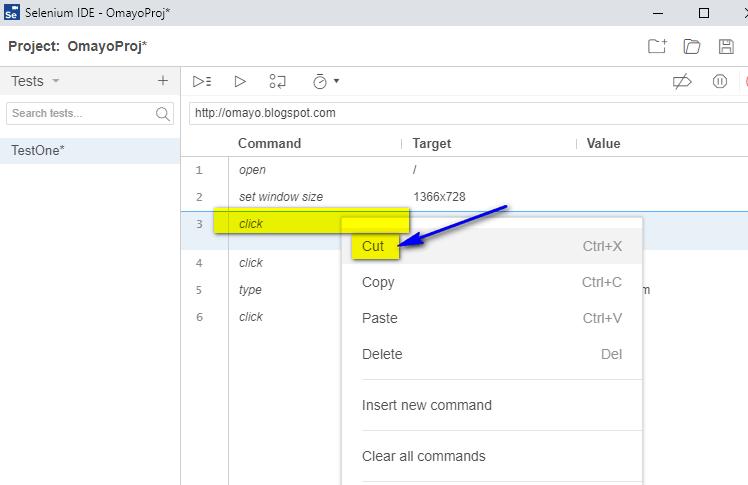 New Selenium IDE - cut option