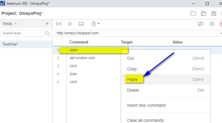 New Selenium IDE - cut paste option