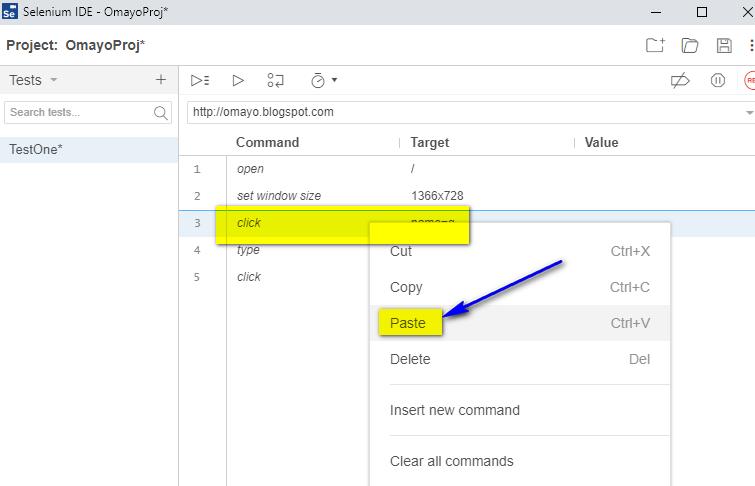 New Selenium IDE - paste option