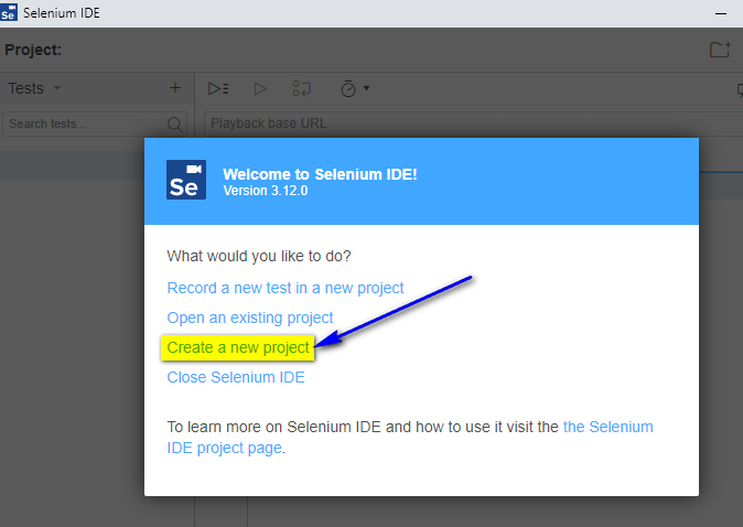 Project Options New Selenium IDE - Create a new project