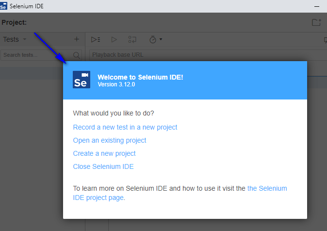 Project Options New Selenium IDE - Welcome Options