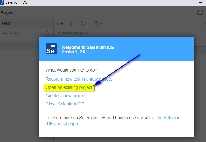 Project Options New Selenium IDE - open an existing project