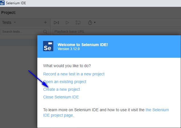 Visual Testing Selenium IDE - Create a new project