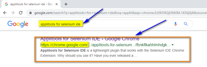 Visual Testing Selenium IDE - search results applitools