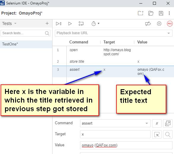 assert Selenium IDE - typing