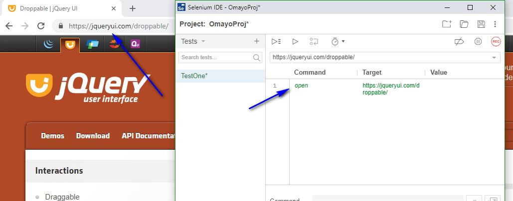 dadto Selenium IDE - openApp