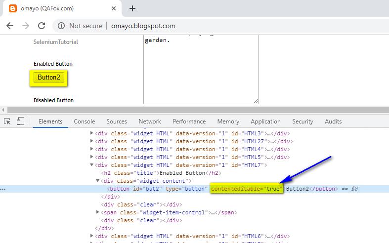 edit content Selenium IDE - contenteditable