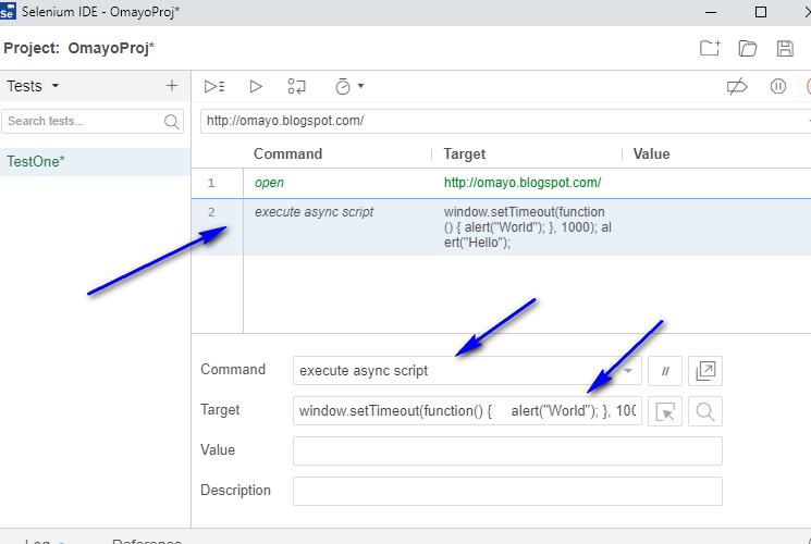 execute async script Selenium IDE - typing