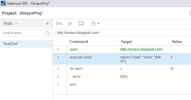 for each Selenium IDE - typing