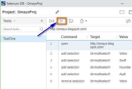 remove selection Selenium IDE - run