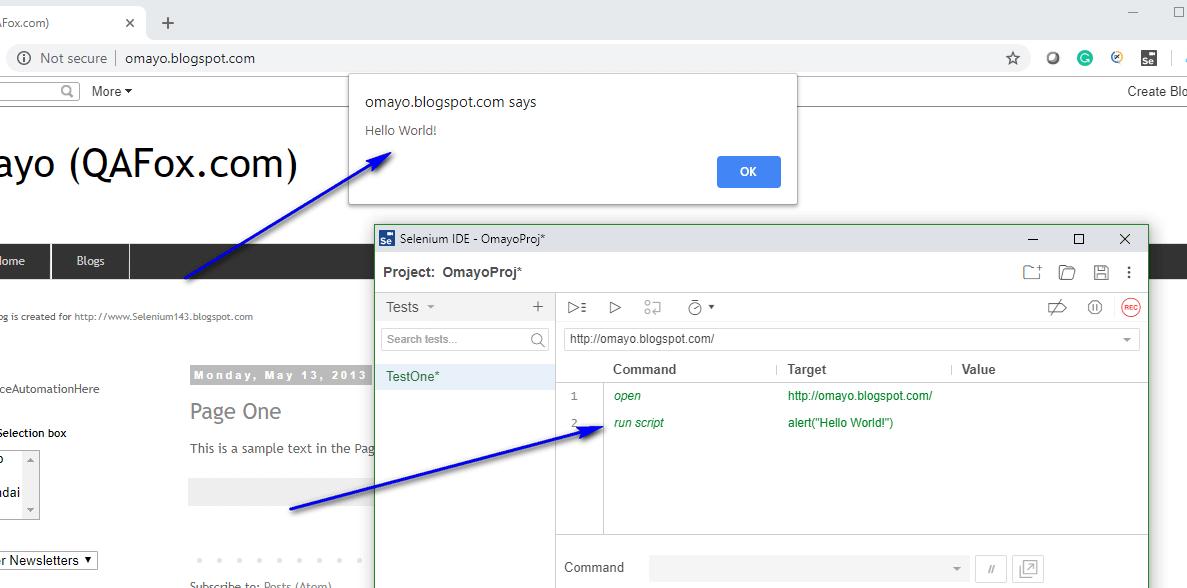 run script Selenium IDE - executed