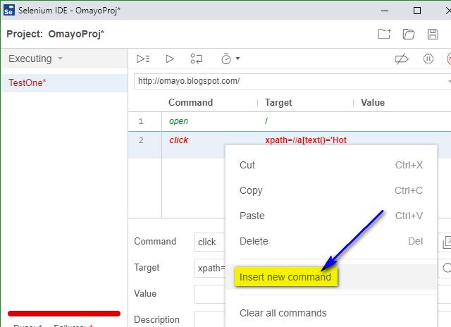 select frame Selenium IDE - insert