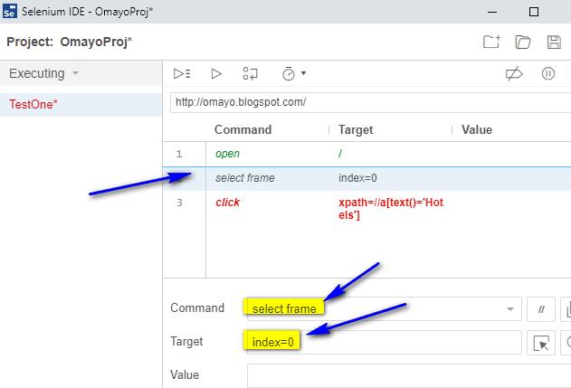 select frame Selenium IDE - selectFrame