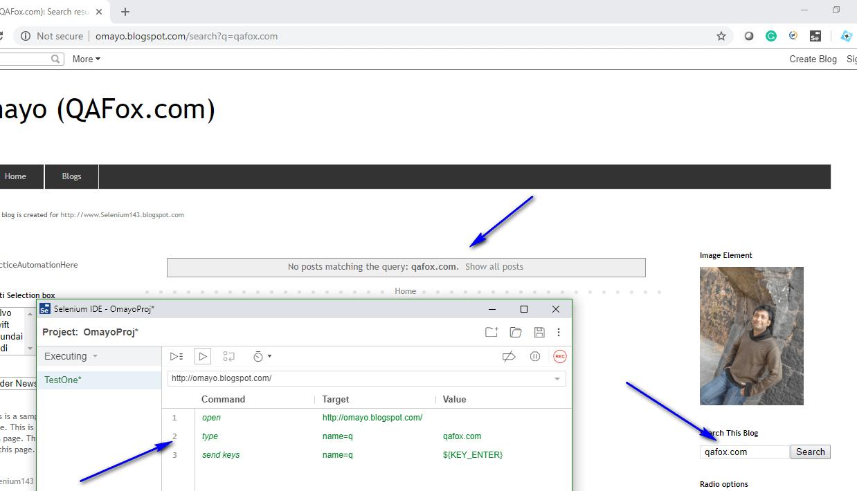 send keys Selenium IDE - executed