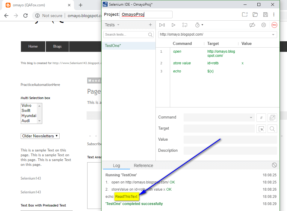 store value Selenium IDE - executed