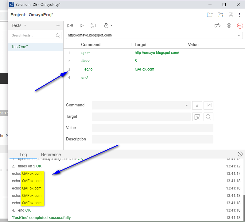 times Selenium IDE - executed