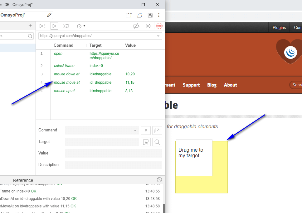 up move down at Selenium IDE - execute