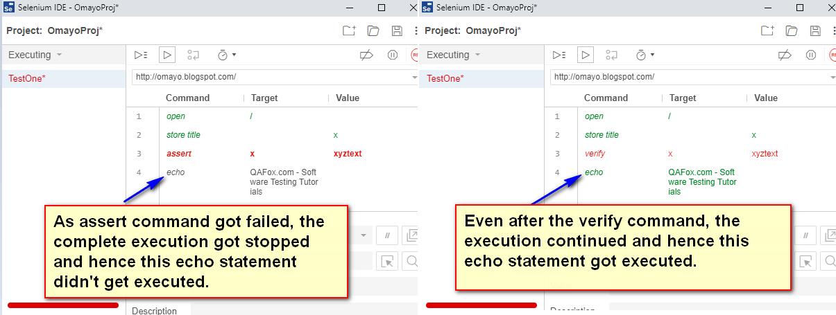 verify Selenium IDE - difference