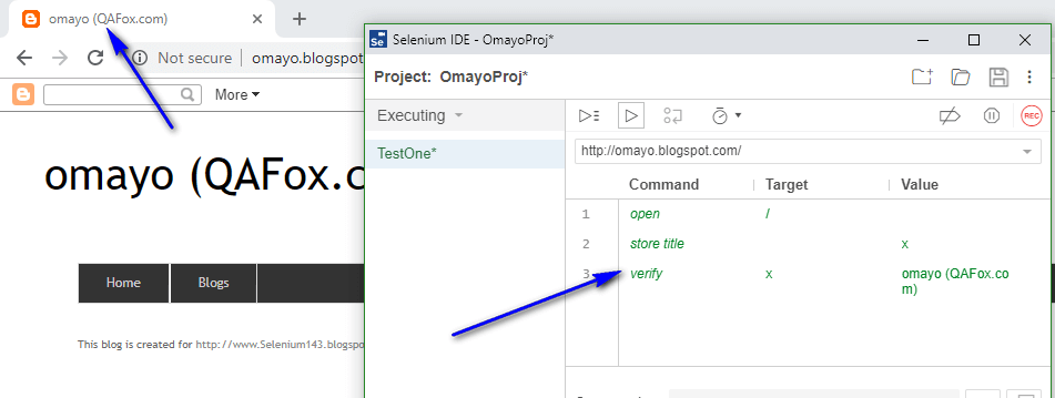 verify Selenium IDE - executed