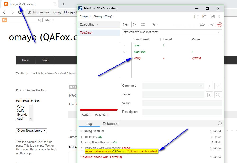 verify Selenium IDE - fail