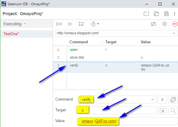 verify Selenium IDE - typing