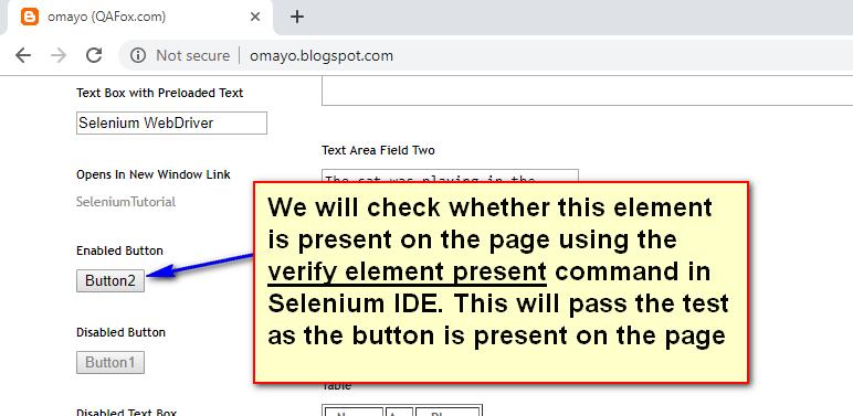 verify element present Selenium IDE - demo