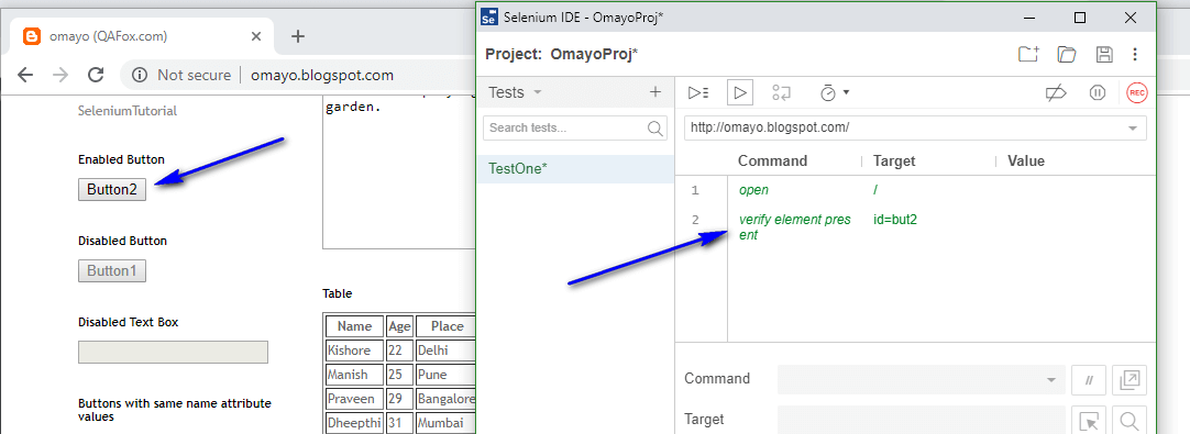 verify element present Selenium IDE - executed