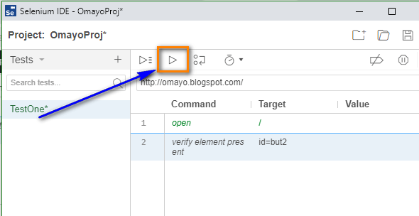 verify element present Selenium IDE - run