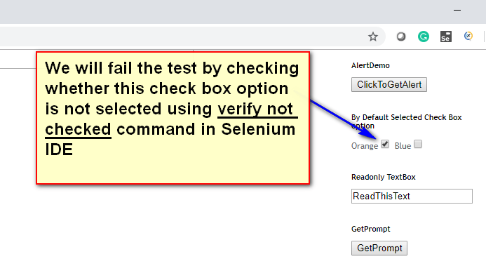 verify not checked Selenium IDE - demo two