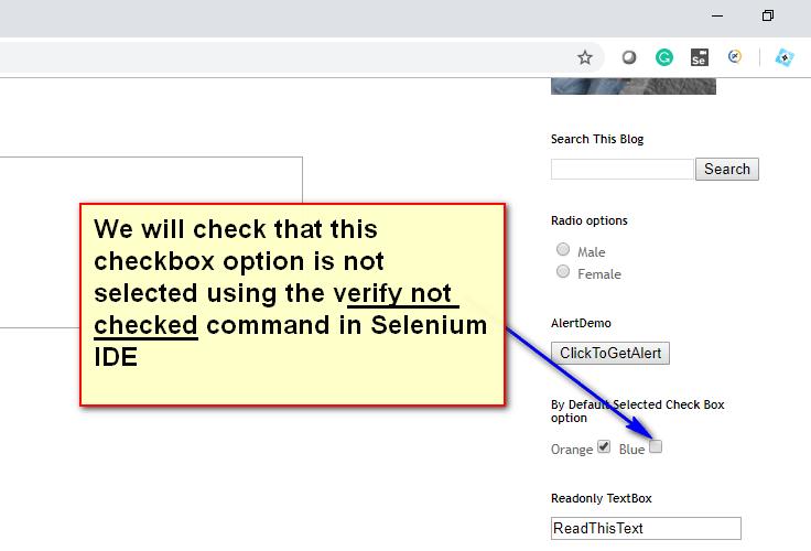 verify not checked Selenium IDE - demo