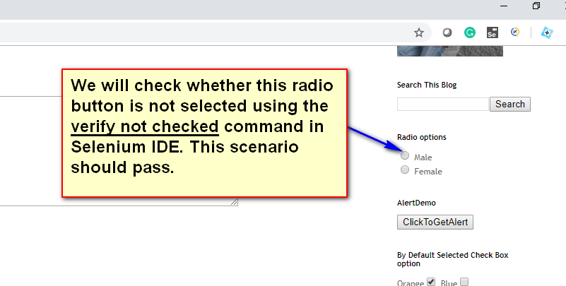 verify not checked radio - demo
