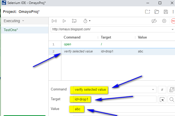 verify selected value Selenium IDE - typing