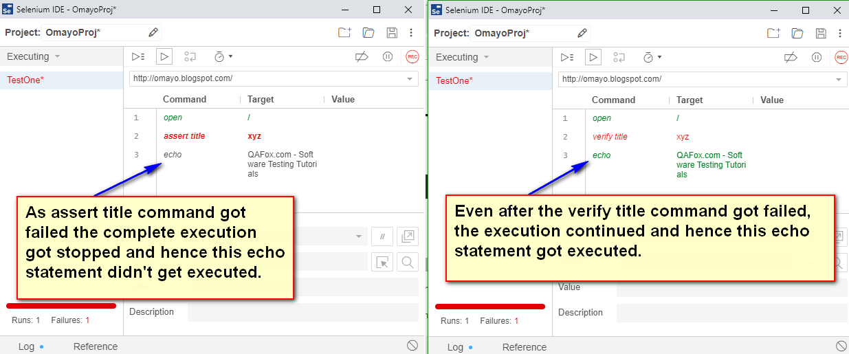 verify title Selenium IDE - difference