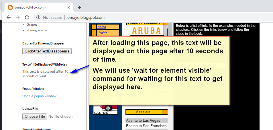 wait for element visible Selenium IDE - demo