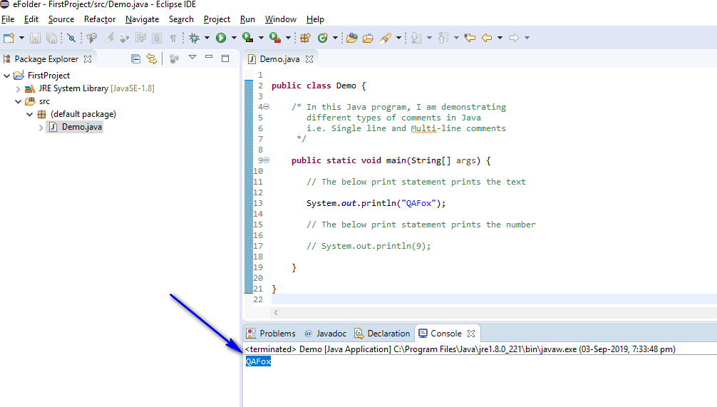Print Shortcut Eclipse IDE - multi line didnt get executed
