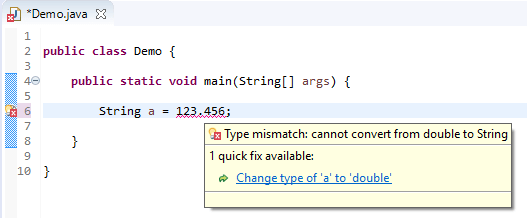 String assign different - double