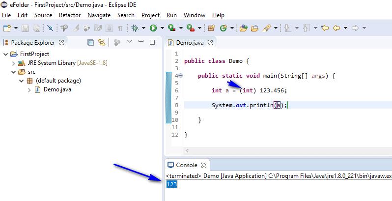 Type Casting Java - explicit