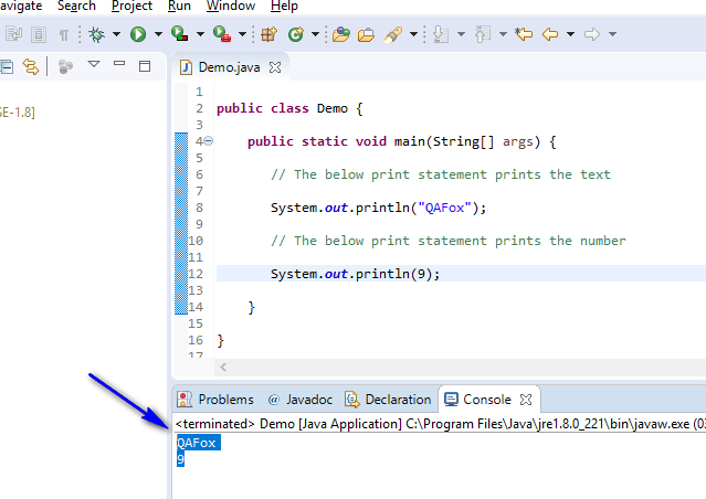 Using Comments Java - Didnt get executed