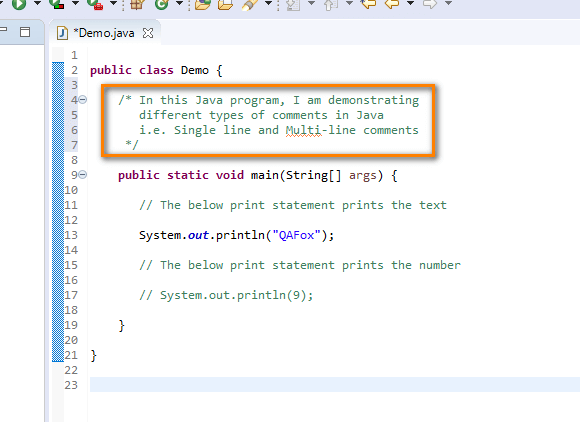 Using Comments Java - multi line comments