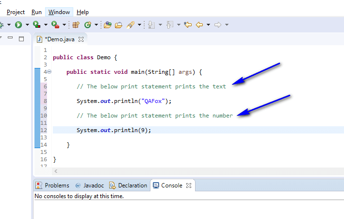 Using Comments Java - single line comments