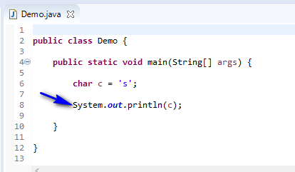 Using Data Types Java - char printed