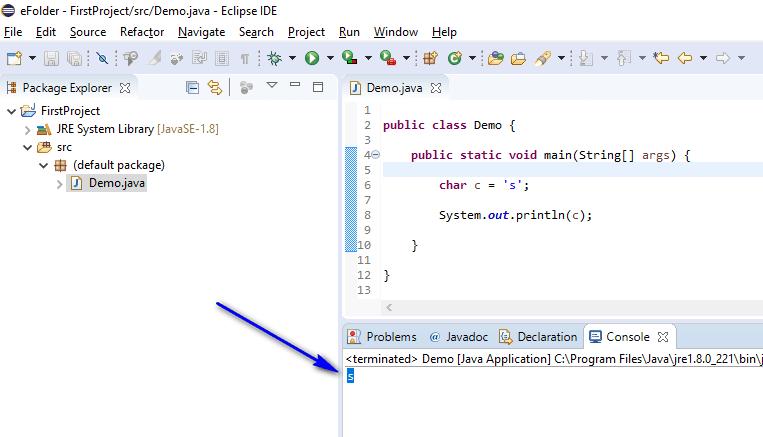 Using Data Types Java - print char