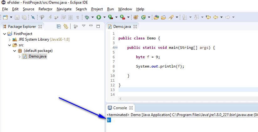 byte data type Java - byte printed